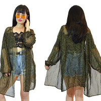 vintage 90s sheer mesh duster jacket metallic gold foil polkadot ultra draped sheer jacket oversized gothic soft grunge 1990s glam large