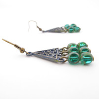 Triangle Chandelier Earrings, Blue & Green