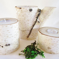 Candle Centerpiece, Tea Light Candle Holder, Birch Log Candle Holder, Wood Candle Holder