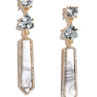 With a Kiss Grey Rhinestone Earrings