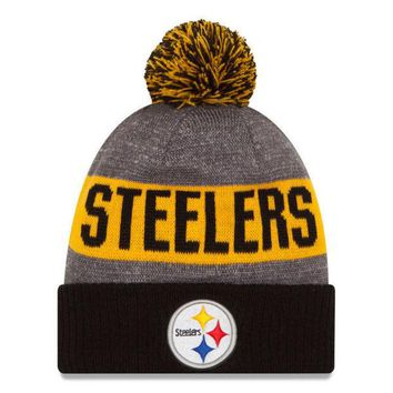 ONETOW NFL Pittsburgh Steelers New Era Heather Gray 2016 Sideline Official Sport Knit Hat