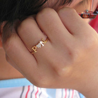 Initial Name Ring With Diamond - Crystal Stones - Girlfriend Gift - Lover Gift