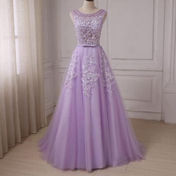 Purple Tulle A-line Prom Dresses Cap Sleeve Beaded Applique Formal Evening Gowns Scoop Neck