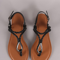 Bamboo Vegan Leather Braided T-Strap Sandal
