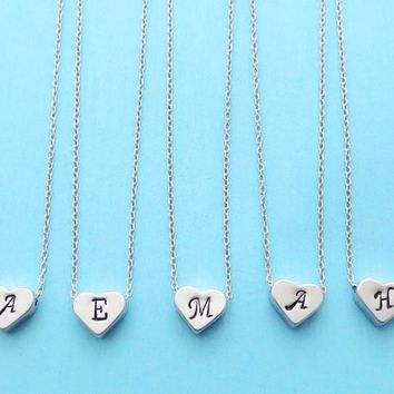 Set of 1-4, Personalized, Letter, Initial, Italic font, Silver, Heart, Necklace, Sets, Wedding, Bridesmaid, Bridal, Gift, Jewelry
