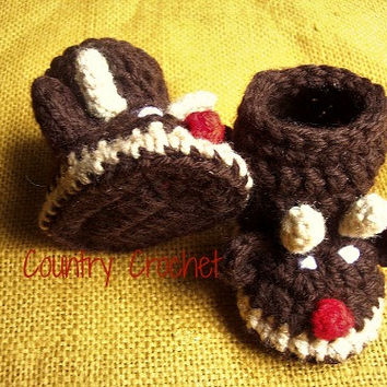 Rudolph boots,Crochet reindeer booties,baby shower gift,great gift ideas