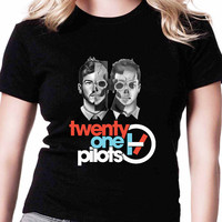 Twenty One Pilots Half Face TV Womens T Shirts Black And White