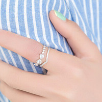 Gift Jewelry New Arrival Stylish Shiny Korean Double-layered Ring [6586153351]