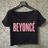 beyonce logo shirt pink logo printed crop top cropped tee black white