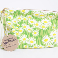Crazy Daisy Vintage Fabric   Small Zipper Pouch