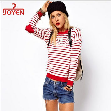 Ideasuke Women's Red Striped Jumper With Heart Elbow Patch Women Long Sleeve Sweaters Casual Knitted Pullovers Simple Elegant