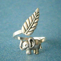 Silver elephant ring with a leaf wrap ring, adjustable ring