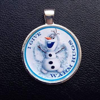 Disney Frozen Pendant Frozen Olaf Necklace Pendant Inspired Pendant Olaf I Give Warm Hugs Olaf necklace Olaf jewelry Frozen Pendant