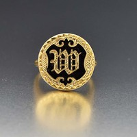Antique 14K Gold Victorian Black Enamel Initial Ring