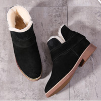 Grind arenaceous ugg boots female leather boots with velvet wool warm cotton shoes with flat sole Black