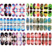 6 Sheets Nail Art Transfer Stickers 3D Design Manicure Tips Decal Decoration