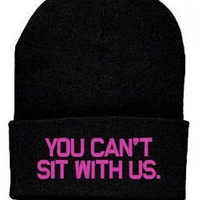 YOU Can't SIT with Us Beanie Knit Hat Amanda Bynes Lyndsay Lohan Britney Spears Paris Hilton (Black/Pink)