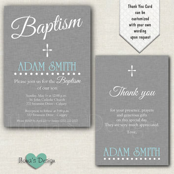 Baptism Boy Grey Invitation - Baptism Grey Invitation - Christening Boy Invitation - Baptism Boy Invitation - Christening Boy Invite