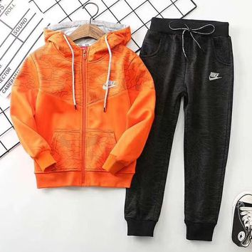 Nike Girls Boys Children Baby Toddler Kids Child Fashion Casual Cardigan Jacket Coat Pants Trousers Two Piece Set