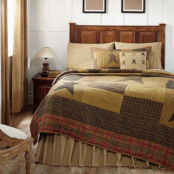Stratton - Twin - Patchwork Quilt and Sham Set - Double Border/Hand-quilted Applique Stars - Plaids and Checks