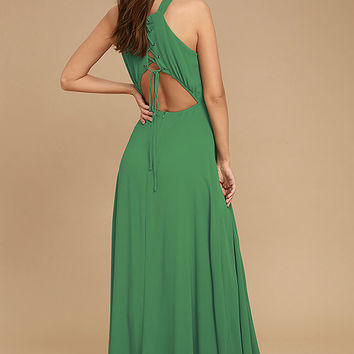 Super Starlet Green Lace-Up Maxi Dress