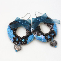 Blue Bow Earrings, Donut Sequin Earrings, Grey Hearts Jewelry, Embroidered felt Earrings, Romantic Women Earrings