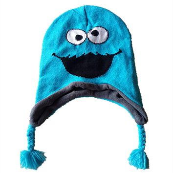 Sesame EiMO Knitting Cotton Beanie Cap Plush Winter Warm OSCAR Cookie Hat Cartoon Cute Cosplay Kid Child Ear protection Beanies