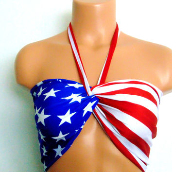 Bandeau, American flag twisted bikini top with Pads, USA Bandeau, 4th of July bandeau.