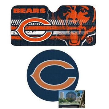Licensed Official NFL Chicago Bears Car Truck Windshield Folding SunShade & Perforated Decal