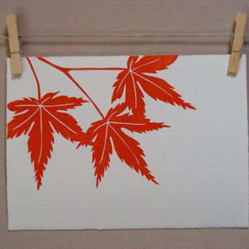Fall Maple Leaves  Handmade  PRINT by WoodenSpoonEditions on Etsy