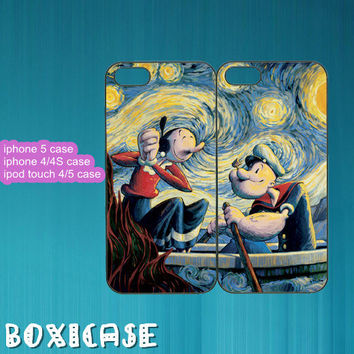 iPhone 4 case,iPhone 5 case,iPod touch 4 case,iPod touch 5 case--Stary Night,Popeye,in plastic,silicone