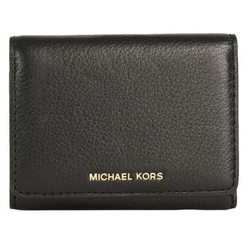 LMFON MICHAEL MICHAEL KORS Liane Small Leather Card Holder Wallet in Black