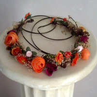 Woodland Flower crown Bridal halo hair wreath orange wine gold dried babys breath Tropical Destination Wedding Accessories electric forest