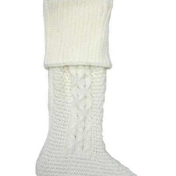 Cable Knit Christmas Stocking Winter White
