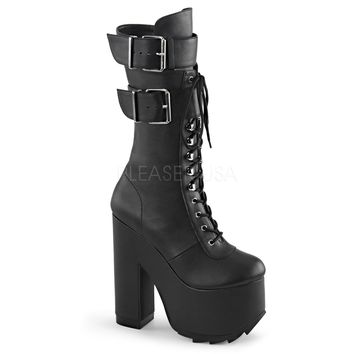 Black Demonia Lace-Up Double Buckle Strap Knee High Ridged Platform Boots Faux Leather