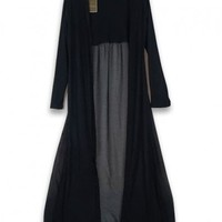 Black Super Soft Long Coat with Open Front and Semi-sheer Back