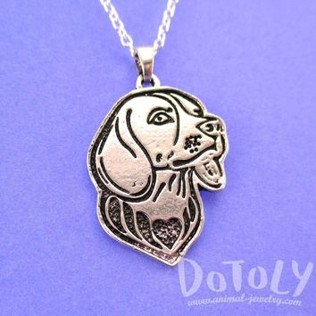 Beagle Puppy Dog Portrait Pendant Necklace in Silver | Animal Jewelry