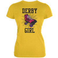 Roller Derby Derby Girl Bright Yellow Juniors Soft T-Shirt