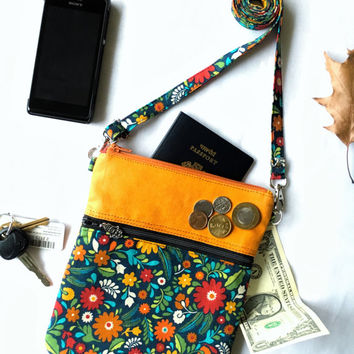 Small Shoulder Bag Purse, Mini Crossbody Bag, Sling Bag Shoulder, Cross Body Bag Small Travel Purse Zipper, Floral Orange Handmade Purse