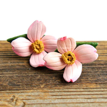 Vintage Pink Dogwood Earrings - Tooled Leather Floral Costume Jewelry / Flower Clip On Earrings