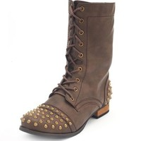 Spiked Lace-Up Combat Boot: Charlotte Russe