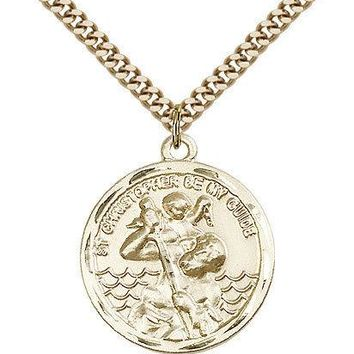 "Saint Christopher Medal For Men - Gold Filled Necklace On 24"" Chain - 30 Day ... 617759881868"
