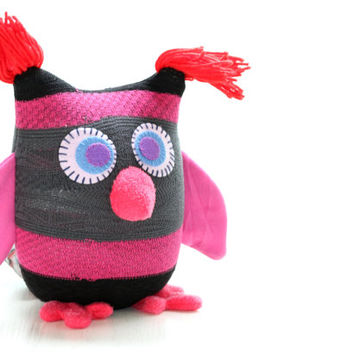 Personalized Owl Tooth Fairy Pillow - Grey red  with pink Wings Ready to Ship