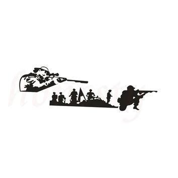 Army Shooting Car Sticker for Wall Home Glass Window Door Laptop Auto Truck Motorcycle Black Vinyl Decal Decor 22.0cmX7.2cm