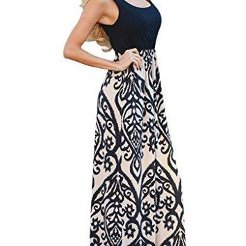 Chase Secret Womens Casual Scoop Neck Summer Boho Long Maxi Dress
