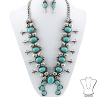 Squash Blossom Necklace with Earrings Set