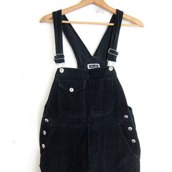 Vintage black Corduroy Bib Overalls.. Carpenter Pants Size Womens S