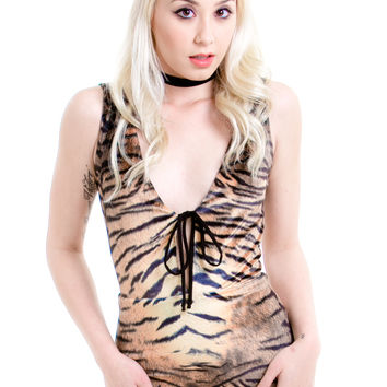 Totally Wild Tiger-Print Bodysuit