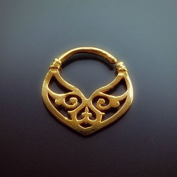 14K Solid Gold Septum Ring For Pierced Nose - Tribal Septum - Septum Jewelry - Gold Septum - Nose Ring