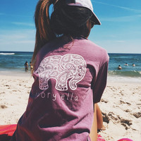 Elephant Print T-shirt  Long Sleeve Women Top Loose - Purple